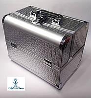 Б'юті кейс валізу алюмінієвий з ключем срібло для майстрів