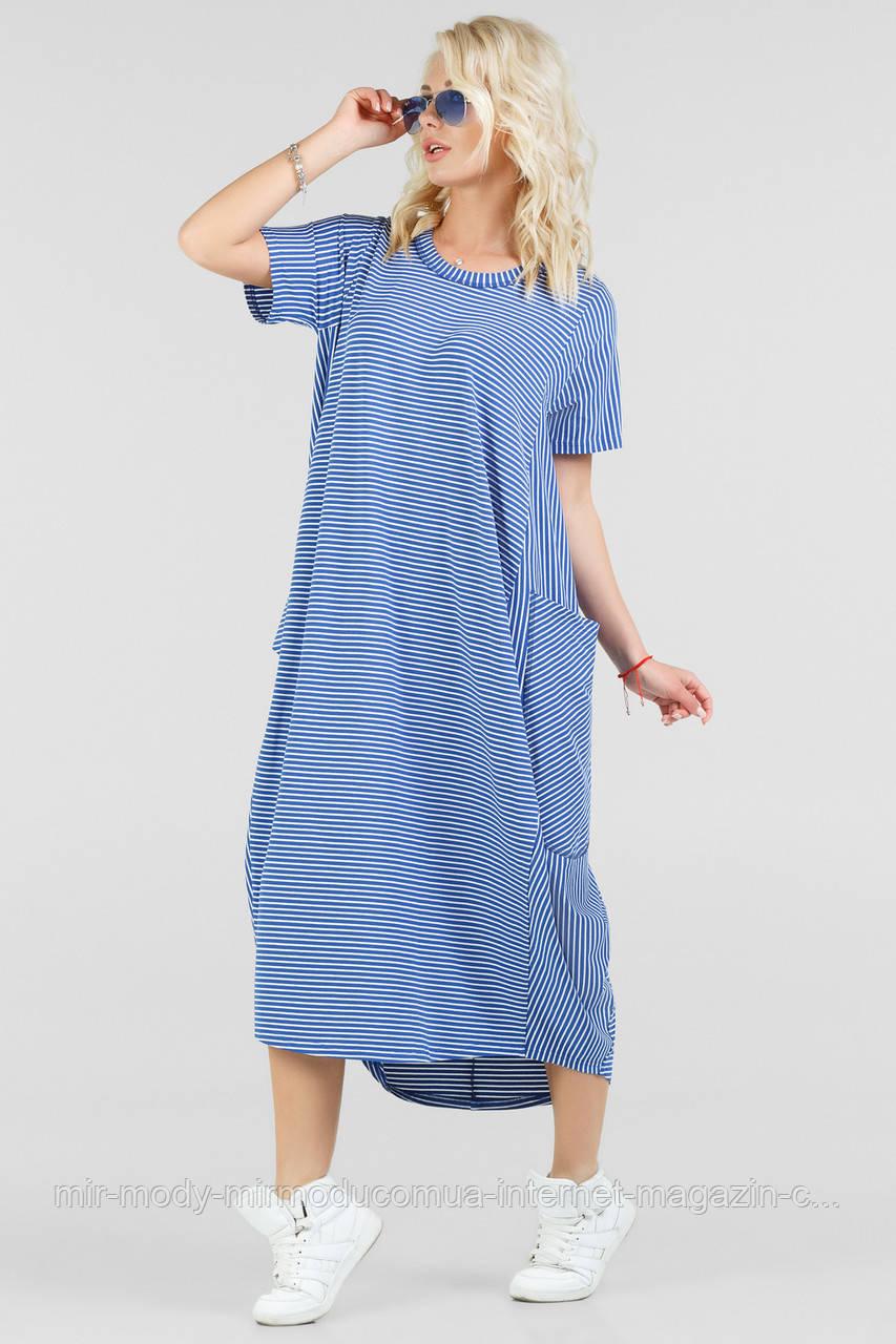 Летнее платье оверсайз полоски синий цвета  (влн)