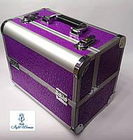 Бьюти кейс алюминиевый чемодан с ключем фиолетовый кружочки для мастеров