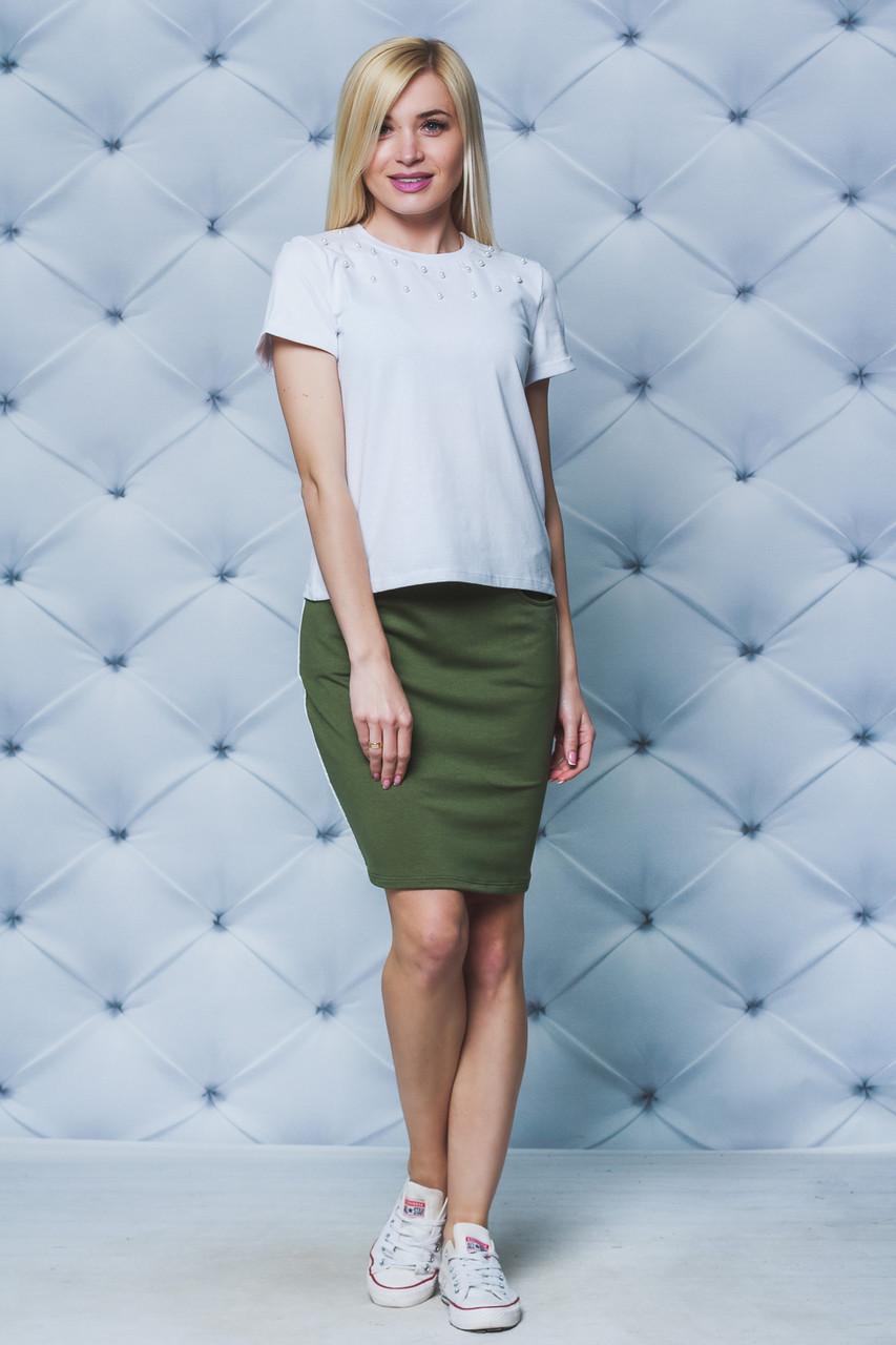 Летний комплект футболка+юбка хаки