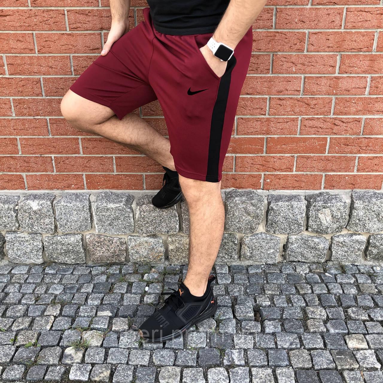 Мужские спортивные повседневные шорты с лампасами Nike | Найк | Чоловічі шорти спортивні Найк (Бордовые)
