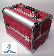 Б'юті алюмінієвий кейс валізу з ключем малиново-червоний кружечки для майстрів