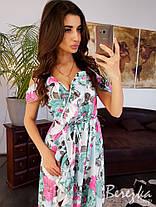 Шелковое принтованое платье в пол на запах, фото 3
