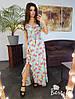 Шелковое принтованое платье в пол на запах, фото 5