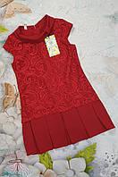Нарядное детское платье с гипюровой вставкой Парижанка р. 116-134 красный