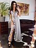 Стильное шелковое платье в пол с рюшами, фото 6
