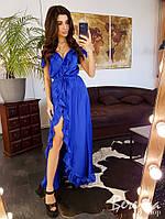 Стильное шелковое платье в пол с рюшами