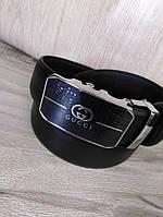 Кожаный мужской ремень в стиле Gucci, универсальный, пряжка автомат