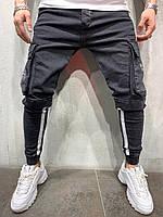 Стильные мужские джинсы черные зауженные 30