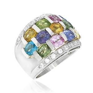 Кольцо серебряное танзанит, цитрин, перидот, топаз размер 16.5