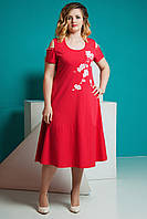 Женское летнее платье красное Сарафан.  Размер 50-56