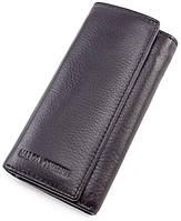 Черная кожаная ключница кошелек  с карабинами под каждый ключ Marco Coverna
