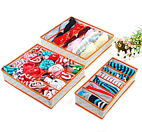 Набір органайзерів для білизни Горох Оранж / Набор органайзеров из 3-х штук для белья Горох, оранжевый, фото 1