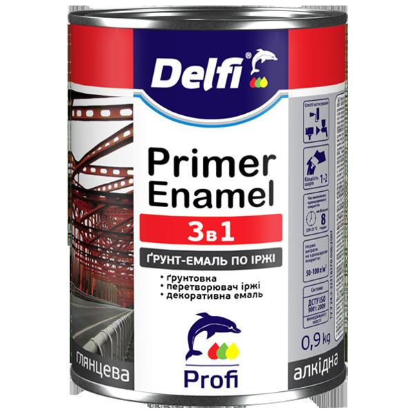 Грунт-эмаль 3 в 1 Delfi черная 0,9 л.