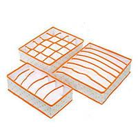 Набір органайзерів для білизни Горох Оранж / Набор органайзеров из 3-х штук для белья Горох, оранжевый