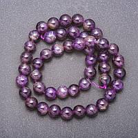 Бусины из натурального камня Аметист светло-фиолетовый d-8мм нитка L- 38см