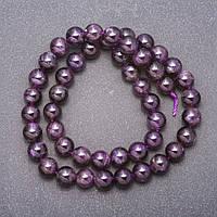 Бусины из натурального камня Аметист темно фиолетовый d-8мм нитка L- 38см