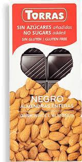 Черный шоколад Торрас с миндалем без сахара и без глютена 150 гр. Испания