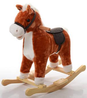 Лошадка-качалка Bambi плюшевая MP 0081 (Рыжий)
