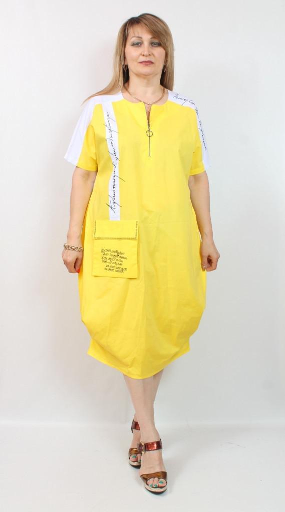 Летнее платье свободного кроя, размеры 48-54