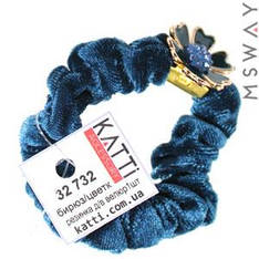KATTi Резинка для волос 32 732 средняя Велюр жатая с брошкой цветок (1шт) Ш1,5Д6 бирюза