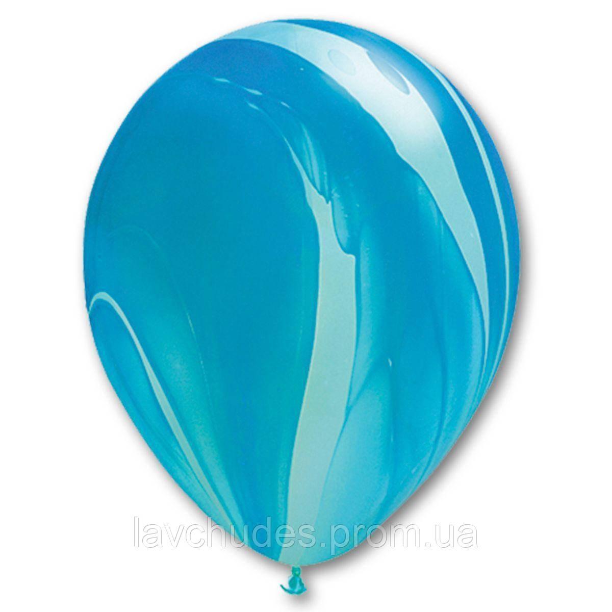 Гелиевые шары Агат - супер агат голубой.  Гелиевые шары Киев. Гелиевые шары с доставкой по Киеву.