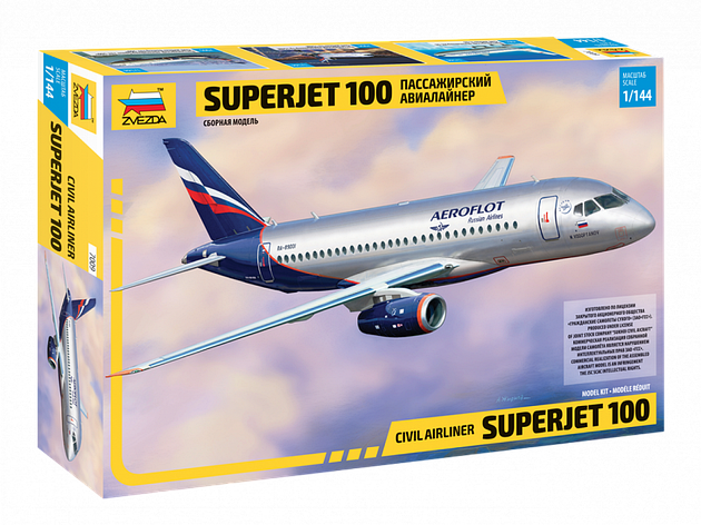 Региональный пассажирский авиалайнер Superjet 100. 1/144 ZVEZDA 7009, фото 2
