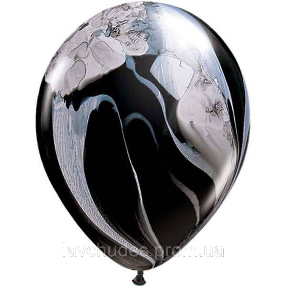 Гелиевые шары Агат - супер агат черно-белый.  Гелиевые шары Киев. Гелиевые шары с доставкой по Киеву.