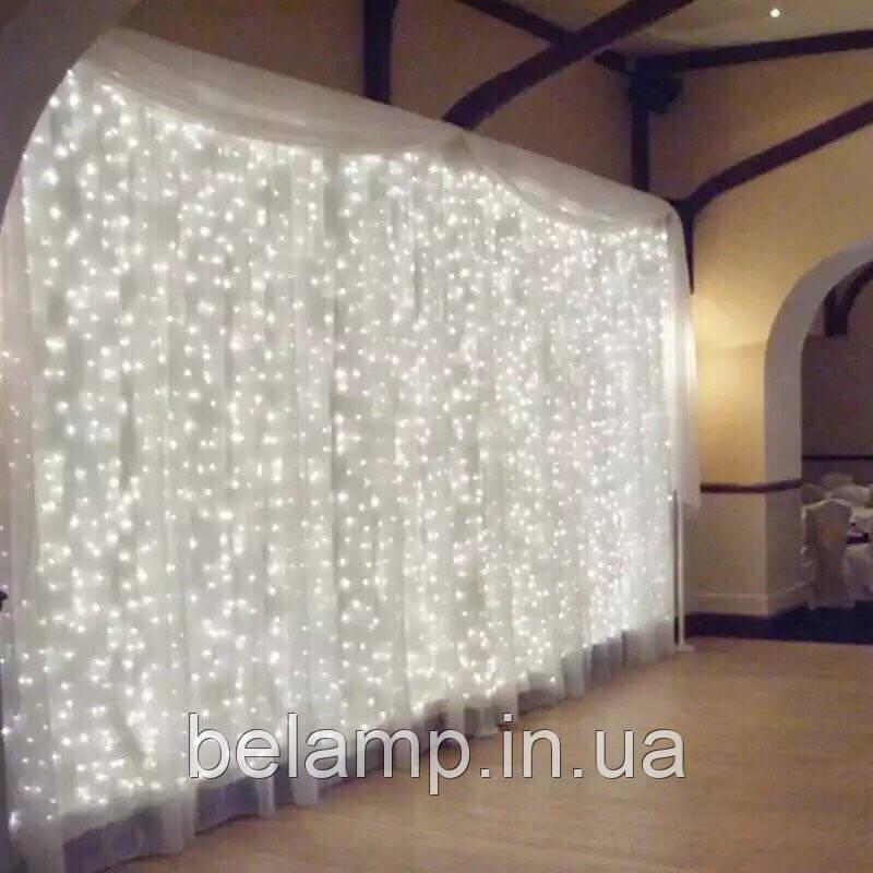 Свадебная гирлянда штора  «Белоснежная». 3 на 3 метра. 300 LED