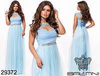 Восхитительное вечернее платье с кружевной кокеткой и стразами размеры S-L, фото 1