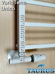 Комплект ALLinOne белых термостатических кранов VarioTerm Unico, Польша для подключения в 1 стойке +маскировка