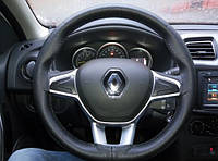 Кожаная оплетка-чехол на руль автомобиля 38 см, черная