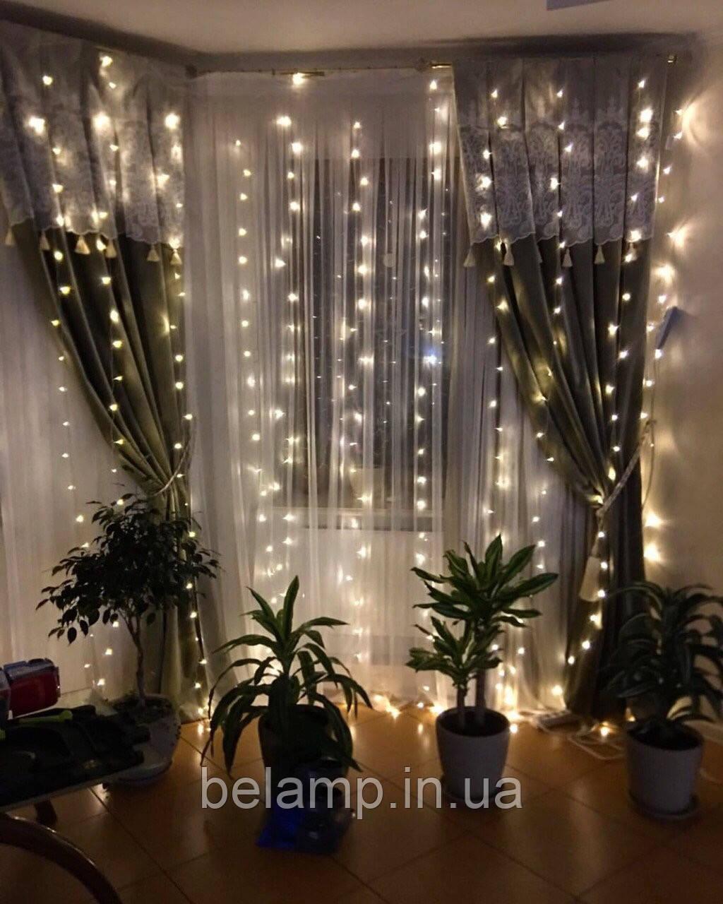 """Свадебная гирлянда штора """"Шикарные огни"""". 3 на 3 метра. 300 LED"""