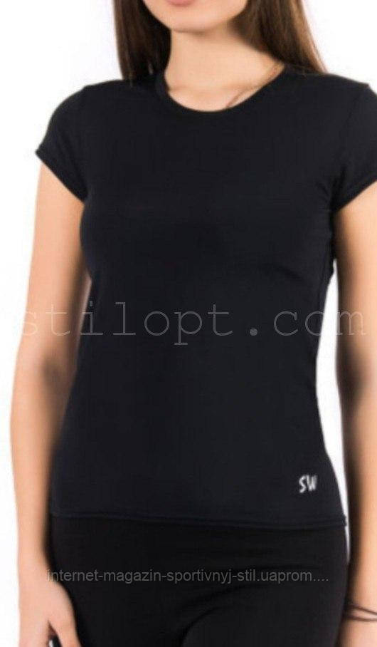 Футболка женская спортивная бифлекс черная, фото 1