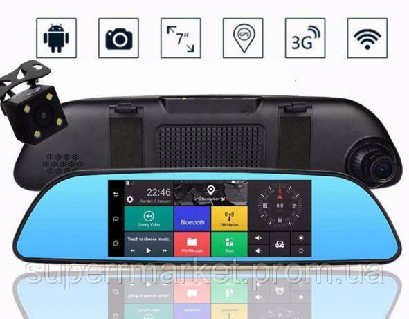 "DV570 Android WiFi GPS 7.0"" 3G microSIM, A6  k35 d35  DVR Car expert, зеркало регистратор 2 камеры"
