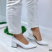 Женские кожаные туфли белые  на каблуках Luxe