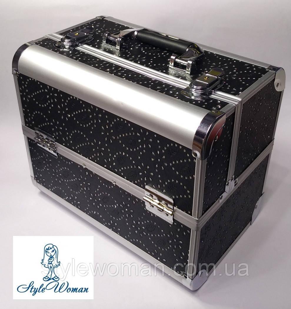 Бьюти кейс алюминиевый чемодан с ключом черный цветок с камнями