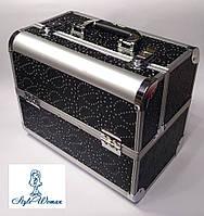 Бьюти кейс алюминиевый чемодан с ключом черный цветок с камнями, фото 1