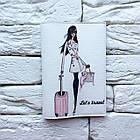 Обкладинка на паспорт Дівчина з рожевим валізкою, фото 2
