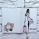 Обкладинка на паспорт Дівчина з рожевим валізкою, фото 3