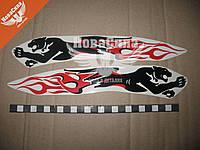 Наклейка Пантера (пламени) (черно-красный.) 27,5х5