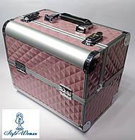 Б'юті алюмінієвий кейс валізу з ключем рожевий куби об'ємні