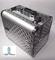 Бьюти кейс алюминиевый чемодан с ключом серебро кубы объемные