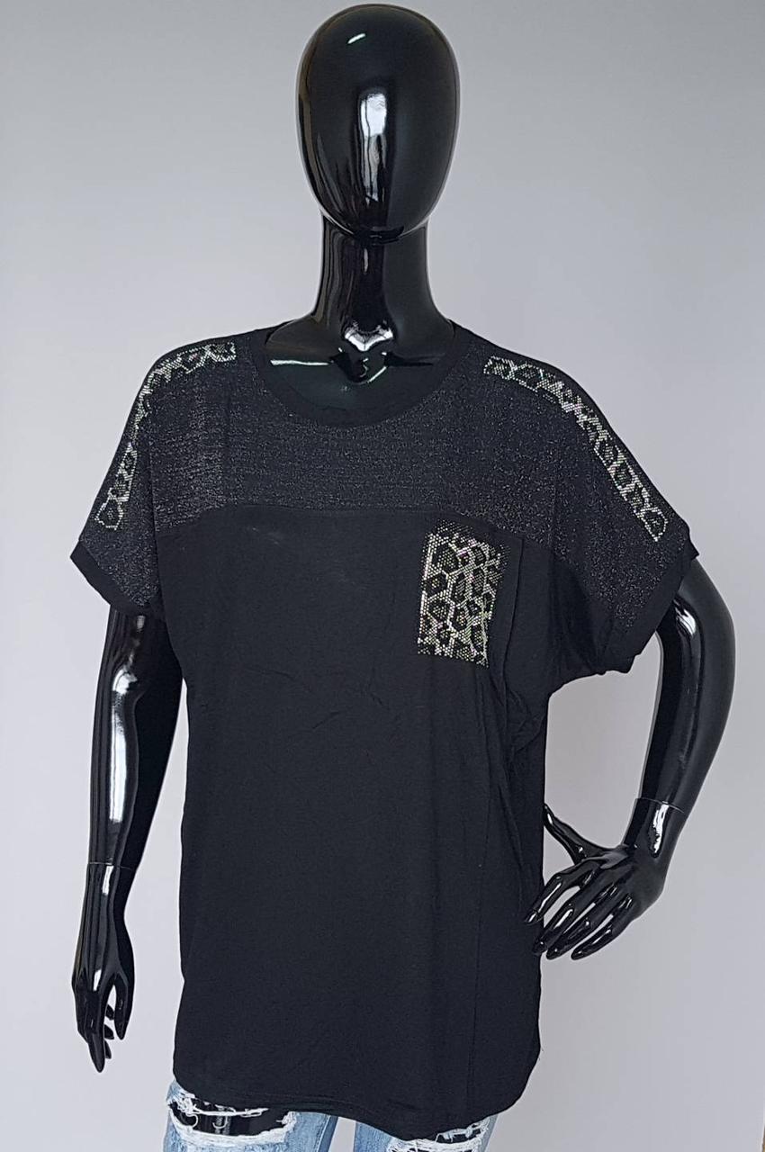 Женская футболка с леопардовым принтом из страз