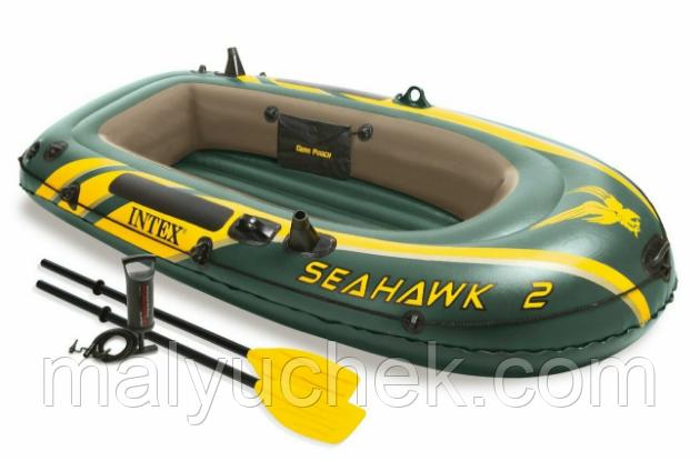2-х місна надувна лодка човен Intex  нагрузка240кг+насос+весла 68347