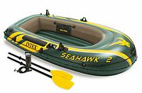 2-х місна надувна лодка човен Intex  нагрузка240кг+насос+весла 68347, фото 1