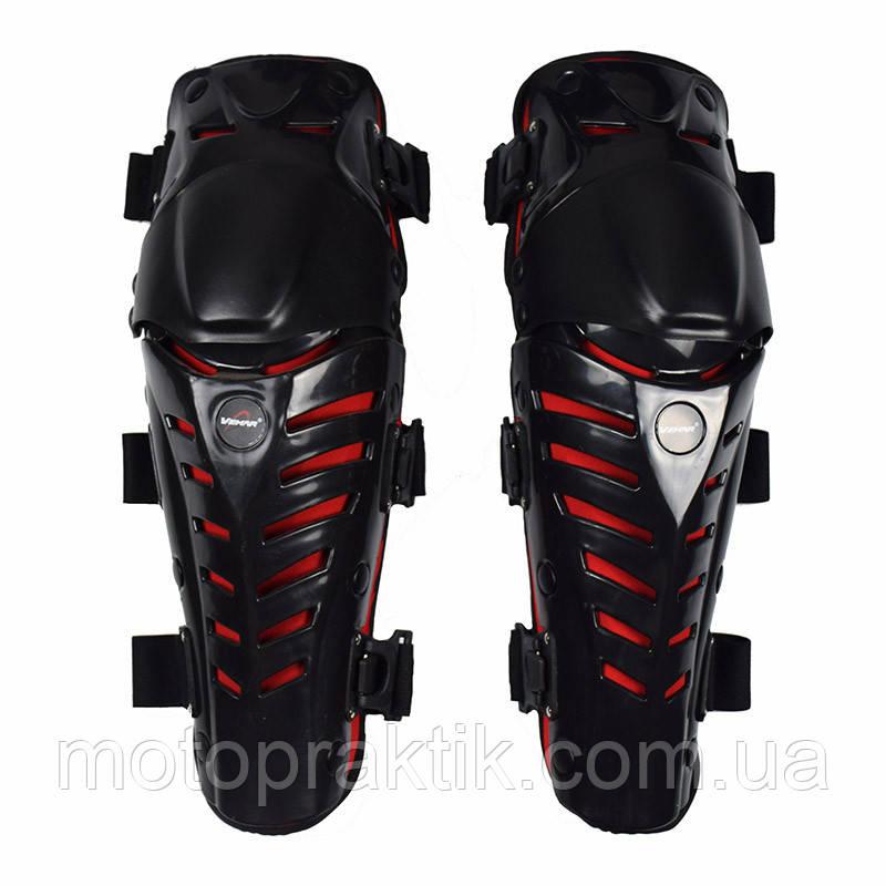 VEMAR S-155 Knee Protectors, Black/Red Мотонаколенники защитные шарнирные (пара, черный)
