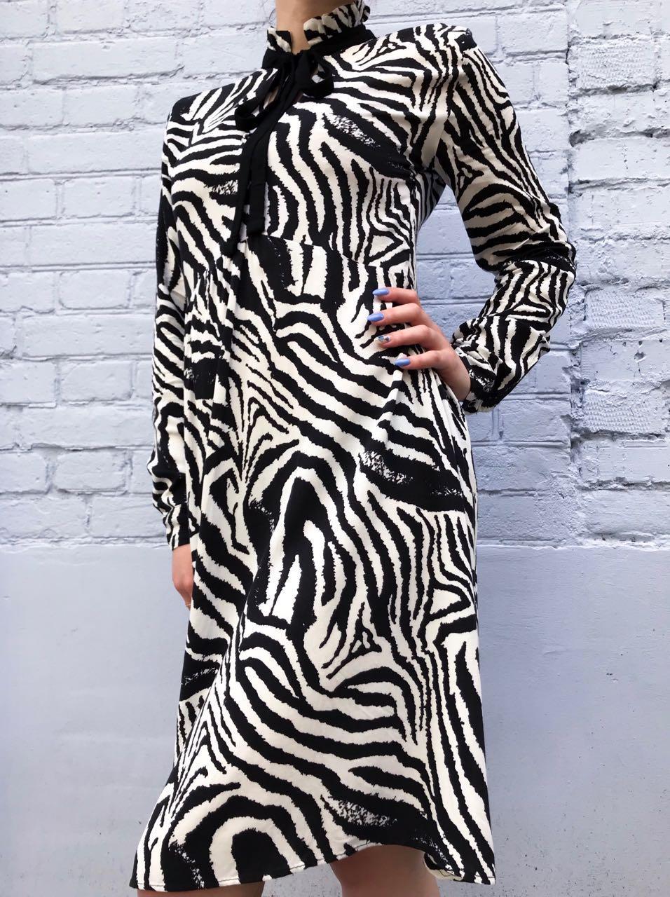 Платье женское Зебра длинный рукав Размер М