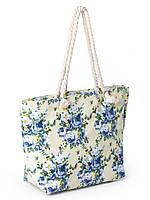 Сумка Женская Пляжная текстиль  2019-2 blue цветочек