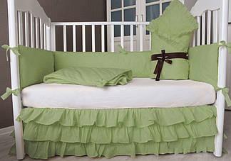 Комплект для новорожденного в кроватку с бортиками, конвертом и юбкой